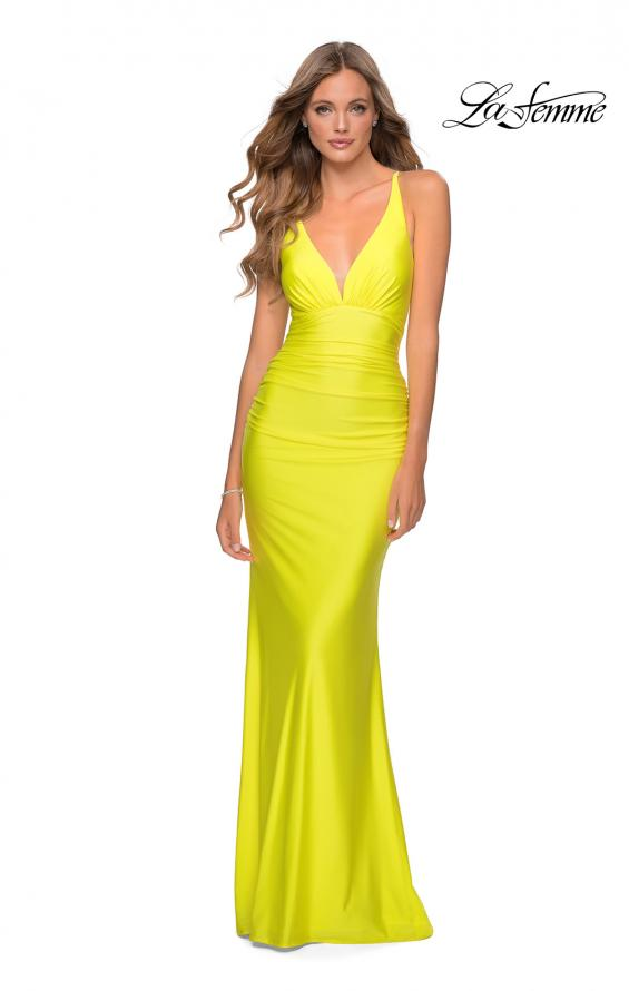 Picture of: Ruched Jersey Prom Dress with Strappy Lace Up Back in Yellow, Style: 28297, Detail Picture 4