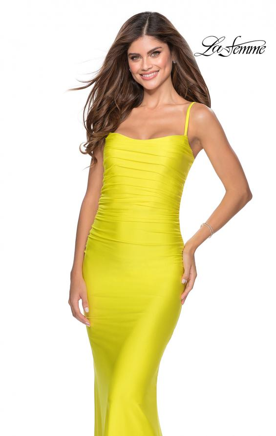 Picture of: Long Ruched Jersey Prom Dress with Thin Straps in Yellow, Style: 28398, Detail Picture 4