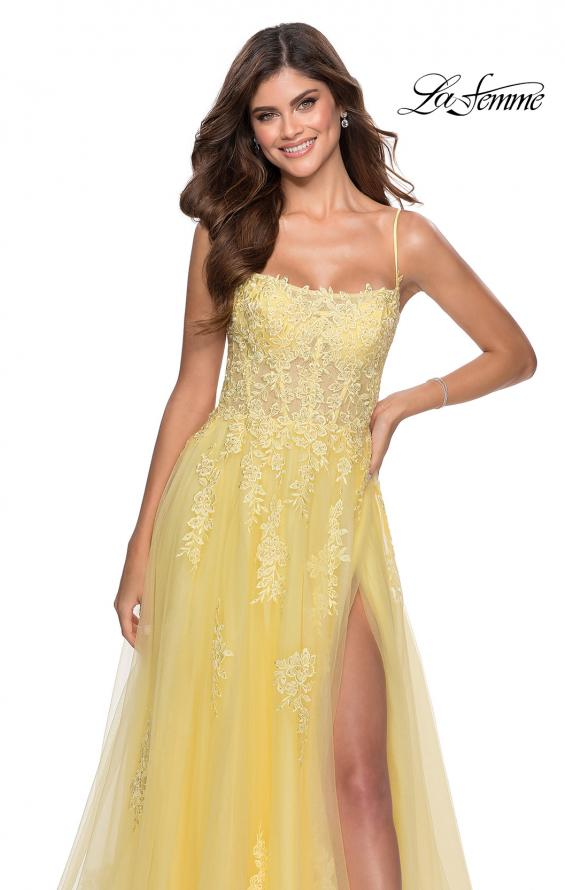 Picture of: A-line Tulle Gown with Floral Embroidery and Pockets in Yellow, Style: 28470, Detail Picture 4