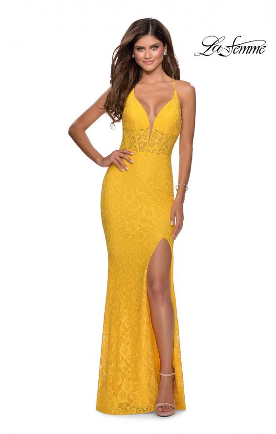 Picture of: Floor Length Lace Prom Dress with Sheer Bodice in Yellow, Style: 28591, Detail Picture 4