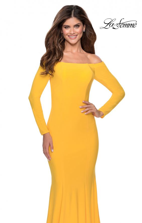 Picture of: Off the Shoulder Long Sleeve Jersey Prom Dress in Yellow, Style: 28754, Detail Picture 4