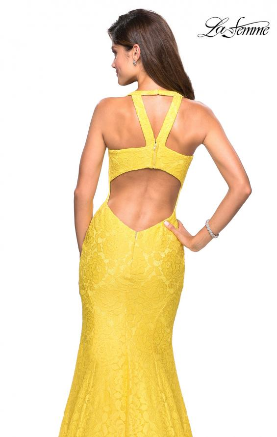 Picture of: Stretch Lace Mermaid Prom Dress with Cut Out Back in Yellow, Style: 27484, Detail Picture 5