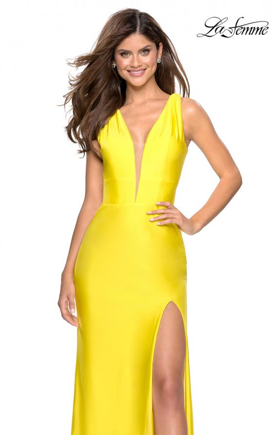 Picture of: Form Fitting Long Jersey Dress with Plunging Neckline in Yellow, Style: 27602, Detail Picture 5
