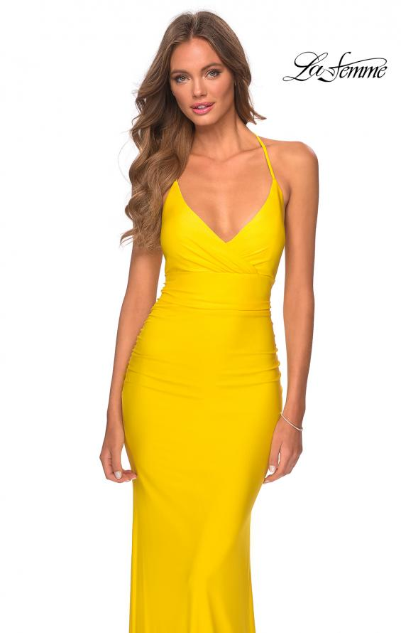 Picture of: Empire Waist Dress with Ruching and Lace Up Back in Yellow, Style: 28593, Detail Picture 6