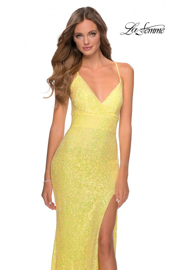 Picture of: Stretch Lace Dress with Lace Up Back and Rhinestones in Yellow, Style: 28632, Detail Picture 6