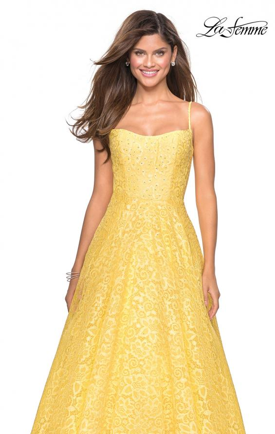 Picture of: Long Lace Organza Sweetheart Neckline Gown in Yellow, Style: 27190, Detail Picture 7