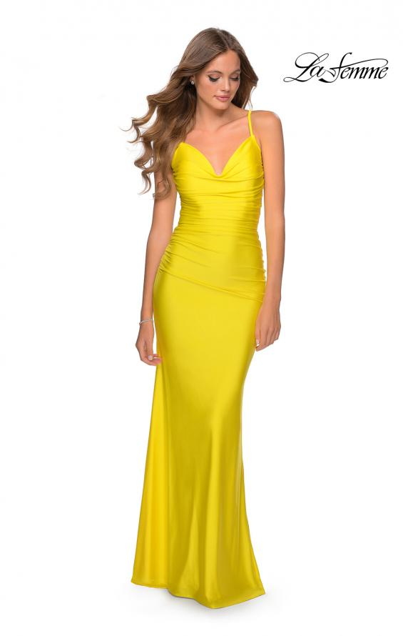 Picture of: Form Fitting Jersey Dress with Ruching and Strappy Back in Yellow, Style: 27501, Detail Picture 7