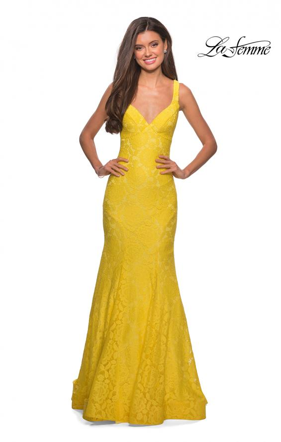 Picture of: Stretch Lace Long Dress with Open Strappy Back in Yellow, Style: 27623, Detail Picture 7