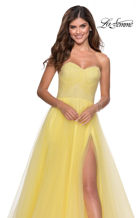 Picture of: Tulle A-line Ball Gown with Net Beaded Bodice in Yellow, Style: 28559, Detail Picture 7