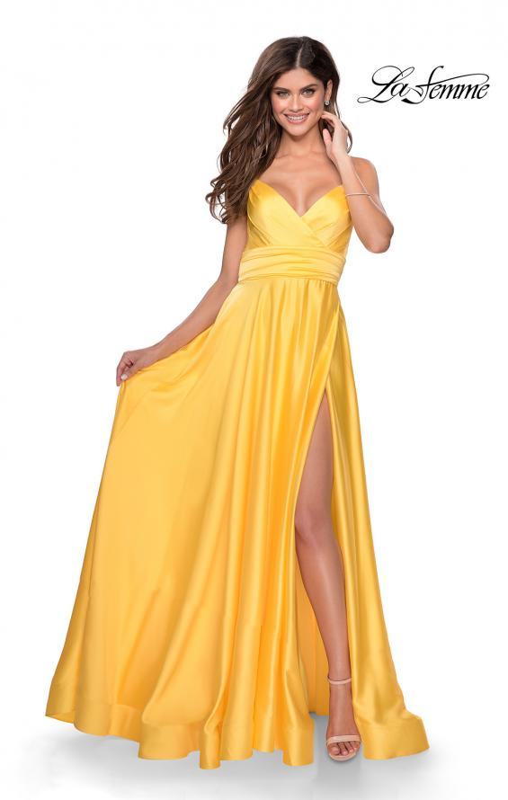 Picture of: Elegant Satin Prom Gown with Empire Waist in Yellow, Style: 28571, Detail Picture 7