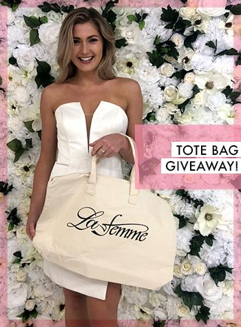 cd1be2d255 prom giveaway tote bag la-femme · Shop For Homecoming Dresses 2018 ...