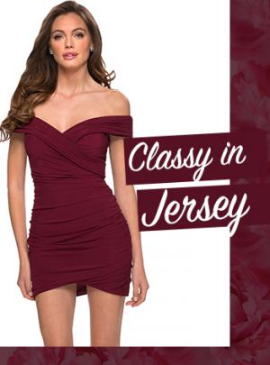 Picture of: Simple Jersey Dress for Homecoming