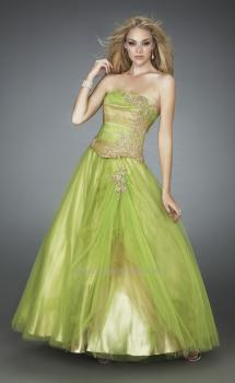 Picture of: Multi Toned Long Prom Dress with Lace Appliques in Green, Style: 11788, Main Picture