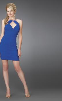 Picture of: Short Ruched Cocktail Dress with Keyhole Neckline in Blue, Style: 14547, Main Picture