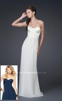 Picture of: Strapless Prom Gown with Satin Bust and Chiffon Skirt in White, Style: 14589, Main Picture
