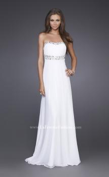 Picture of: Long Prom Dress with Ruched Bodice and Beading in White, Style: 15027, Main Picture