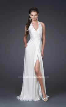 Picture of: Silk Halter Gown with Deep V Neck and Low Back in White, Style: 15271, Main Picture