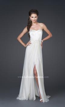 Picture of: Silk Long Gown with Corset Top and Chiffon Skirt in White, Style: 15586, Main Picture