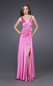 Picture of: Long Silk Gown with V Neck and Beaded Detail in Pink, Style: 15599, Main Picture