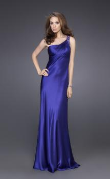 Picture of: Satin One Shoulder Gown with Illusion Back and Floral Detail in Purple, Style: 15683, Main Picture
