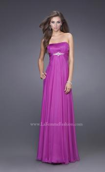 Picture of: Strapless Chiffon Dress with Crystal Broach and Ruching in Purple, Style: 15720, Main Picture