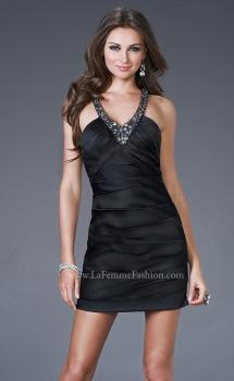 Picture of: All Over Pleated Satin Short Dress with Beading in Black, Style: 15843, Main Picture