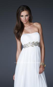 Picture of: Strapless Empire Waist Gown with Detailed Waistband in White, Style: 15986, Main Picture