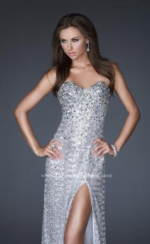 Picture of: Sweetheart Neckline Fully Sequined Gown with Front Slit in SIlver, Style: 15987, Main Picture