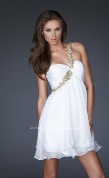 Picture of: Short Chiffon Cocktail Dress with Floral Strap Detail in White, Style: 16060, Main Picture