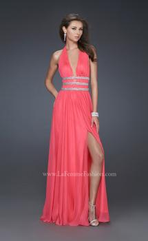 Picture of: Chiffon Halter Gown with Fitted Bodice and A-line Skirt in Hot Pink, Style: 16123, Main Picture