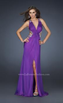 Picture of: V Neck Chiffon Gown with Hand Painted Leaf Pattern in Purple, Style: 16288, Main Picture