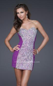 Picture of: Strapless Short Cocktail Dress with Jeweled Front in Purple, Style: 16368, Main Picture
