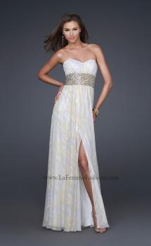 Picture of: Strapless Chiffon Gown with Beaded Waist and Front Slit in White, Style: 16372, Main Picture