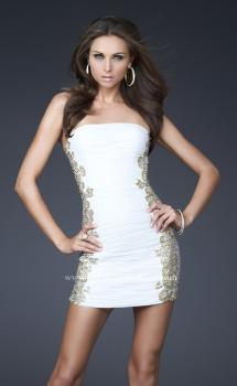 Picture of: Strapless Ruched Net Dress with Flower Detail in White, Style: 16503, Main Picture