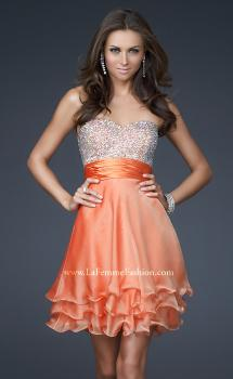 Picture of: Short Chiffon Prom Dress with Jewel Embellished Top in Orange, Style: 16541, Main Picture