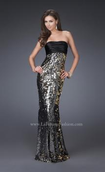 Picture of: Trumpet Style Sequined Dress with Pleated Satin Top in Silver, Style: 16561, Main Picture