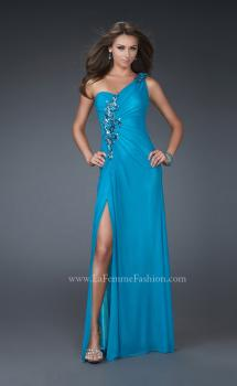 Picture of: One Shoulder Net Prom Gown with Intricate Design in Aqua, Style: 16687, Main Picture