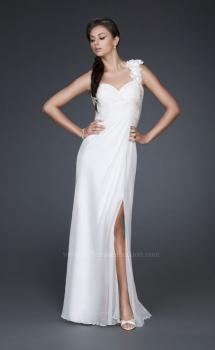 Picture of: One Shoulder Silk Chiffon Gown with Beading and Flowers, Style: 16747, Main Picture