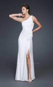 Picture of: One Shoulder Pleated Net Gown with Floral Detail and Slit, Style: 16759, Main Picture