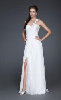 Picture of: Ruched Bust Prom Dress with Beaded Floral Strap, Style: 16760, Main Picture