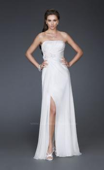 Picture of: Long Strapless Silk Chiffon Dress with Flower Embellishments in White, Style: 16763, Main Picture
