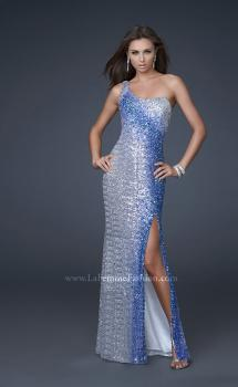 Picture of: Trendy One Shoulder Ombre Sequined Dress with Slit in Silver, Style: 16800, Main Picture