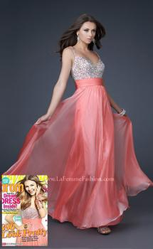Picture of: Jewel Encrusted Prom Gown with A-line Skirt in Peach, Style: 16802, Main Picture