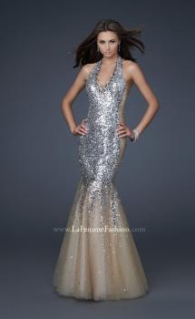 Picture of: Sequined Halter Mermaid Prom Dress with Tulle in SIlver, Style: 16804, Main Picture
