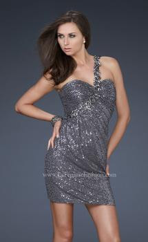 Picture of: Sequin Cocktail Dress with One Shoulder Flower Design in Silver, Style: 16886, Main Picture