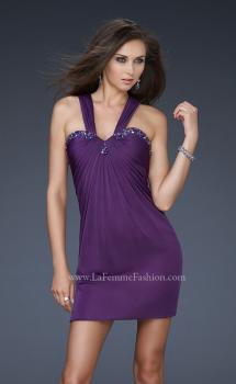 Picture of: Embellished Cocktail Dress with Beading and V Back in Purple, Style: 16898, Main Picture