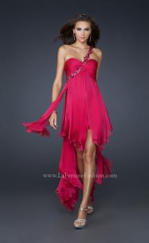 Picture of: High Low Style Prom Dress with Gem Flower Design in Hot Pink, Style: 16924, Main Picture