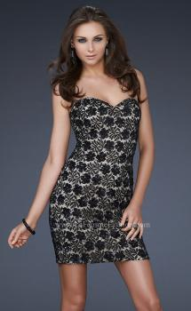 Picture of: Strapless Short Dress with Hand Crafted Sequin Detail in Black, Style: 16945, Main Picture