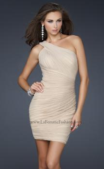 Picture of: One Shoulder Strap Cocktail Dress with Pleated Detail in Nude, Style: 16950, Main Picture