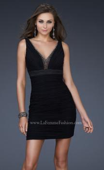 Picture of: Jersey Cocktail Dress with V Neck and Jeweled Back in Black, Style: 16952, Main Picture